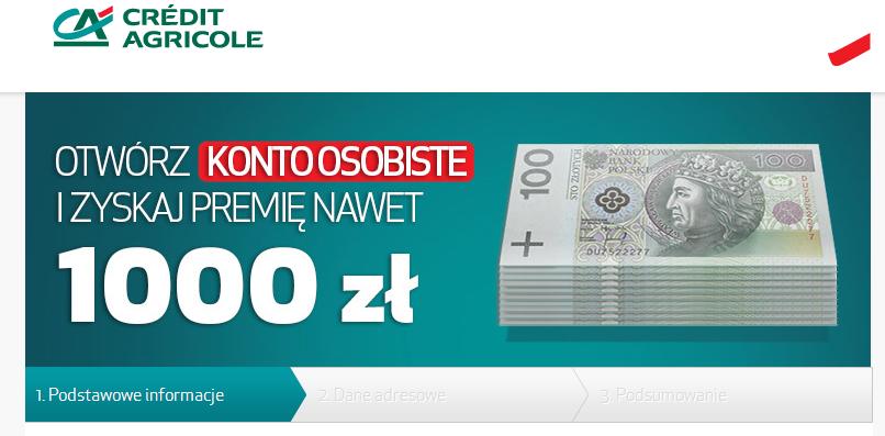Credit Agricole – 1000 złotych do zgarniecia