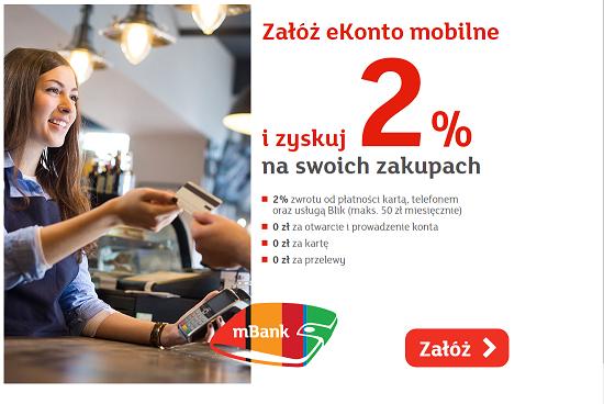 mBank – 2% zwrotu transakcji kartą i BLIK