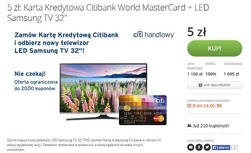 Telewizor nagrodą za kartę kredytową Citibank