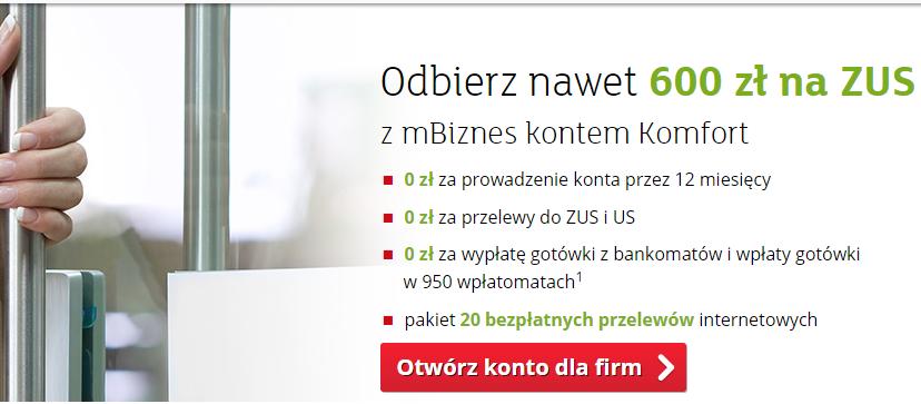 600 zł od mBank dla przedsiębiorców