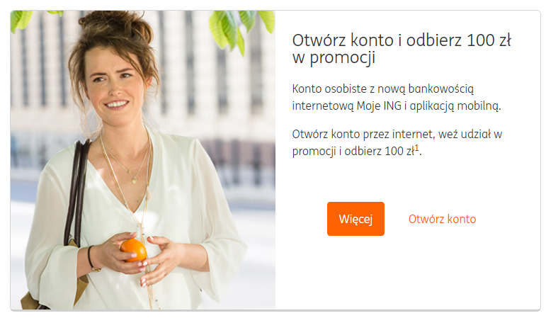 100 złotych od ING za otwarcie konta